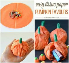 Easy Tissue Paper Pumpkin Party Favours These are just too adorable not to share! I had a themed baby shower two years ago --- where the h. Halloween Gift Bags, Halloween Treats For Kids, Fall Crafts For Kids, Halloween Party, Halloween Pumpkins, Halloween Crafts, Halloween Dance, Halloween Foods, Halloween 2016
