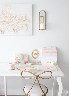 Blush And Gold Glam Office Reveal – Summer Adams – Chic Home Office Design Home Office Space, Home Office Design, Home Office Decor, Office Furniture, Home Decor, Office Style, Office Designs, Closet Office, Interior Office