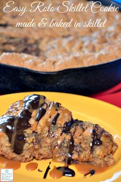 Easy Rolo #Skillet #Cookie Made & Baked in Skillet #Easy Rolo Skillet Cookie