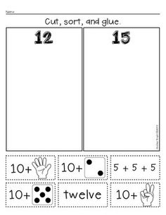"Practice larger numbers (11-19) with ""Teen Number Sorts"" ... Great for class work, math centers, and/or homework. #teennumbers #math $"