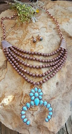 COWGIRL Bling SQUASH BLOSSOM  Western COPPER TONE Boho Gypsy NECKLACE set…