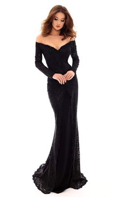 Get two dresses in one with this elegant black dress by TARIK EDIZ. Slip into the figure-hugging simple black dress with short sleeves and an off-shoulder neckline or add the long-sleeved glittery second layer to turn this into a sparkly evening wear. Black Formal Gown, Formal Gowns, Strapless Dress Formal, Black Dress With Sleeves, Black Long Sleeve Dress, Long Black Dresses, Short Sleeves, Long Sleeve Mermaid Dress, Gala Dresses