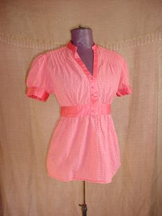 Apt. 9 Top Blouse with Swiss Polka Dot size Medium Short Gathered Sleeve Coral