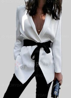 Coats - $40.99 - Cotton & Cotton Blend Long Sleeve V-neck Sashes Coats (1715248558)