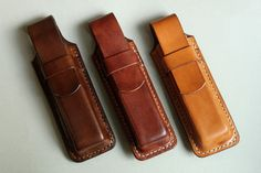 Leather 3 x leather pouch