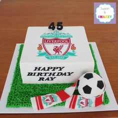Established by 2 sisters and inspired by our kids who have a love of all things. Football Birthday Cake, Football Cakes, Soccer Cakes, Liverpool Cake, Liverpool Football Club, 40th Cake, Dad Cake, 41st Birthday, Sport Cakes