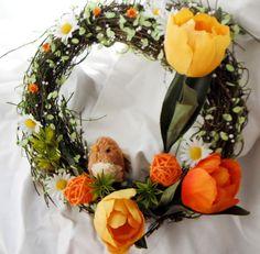 "Věneček \""hravé jaro\"" Grapevine Wreath, Grape Vines, Floral Wreath, Wreaths, Home Decor, Floral Crown, Decoration Home, Door Wreaths, Room Decor"