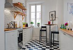 open shelves, tiny kitchen