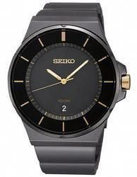 Seiko Mens Two-Tone Watch - Black Dial - Black IP and Gold-Tone cfaf9ca01f