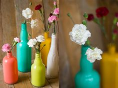 Painted glass bottles DIY- I might do this with bowls and other shallow items since my ceiling is low