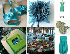 Brown/Black Tablecloth, White Chair Covers, Teal Ribbons + Napkins