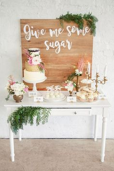 """Give Me Some Sugar"" gold, pink and white wedding dessert buffet display 