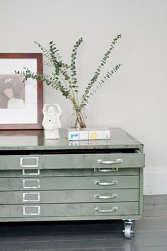 Architects flat file cabinet coffee table in green by klinker on Etsy