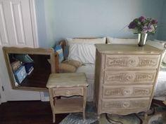 Dresser, Mirror & End Table Bedroom Furniture Set Annie Sloan Chalk Paint SWFL #Vintage #VintageCottage