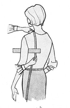 Measuring for jackets - measuring scye.Although the picture is not in bright flashy colors this is an EXCELLENT LEARNING ARTICLE, information well done. Read Slow and Learn many details! Sewing Lessons, Sewing Class, Sewing Hacks, Sewing Tutorials, Sewing Projects, Sewing Patterns, Sewing Tips, Skirt Patterns, Dress Tutorials