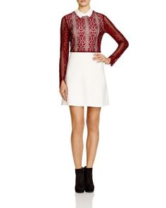 Sandro Rickie Contrast Lace Dress - 100% Bloomingdale's Exclusive | Bloomingdale's