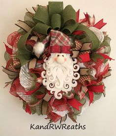 by KandRWreaths on Etsy Santa Wreath, Christmas Mesh Wreaths, Christmas Door Decorations, Deco Mesh Wreaths, Door Wreaths, Christmas Crafts, Christmas Ornaments, Holiday Decor, Christmas Floral Designs