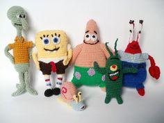 Set toys Spongebob and friends Crocheted toys Sheldon Plankton Krusty Krub Squidward Patrick Star Gary handmade toys cartoon characters by Crochet Gifts, Crochet Toys, Amigurumi Toys, Cartoon Kids, Crochet For Kids, Handmade Toys, Free Pattern, Pattern Ideas, Gifts For Kids