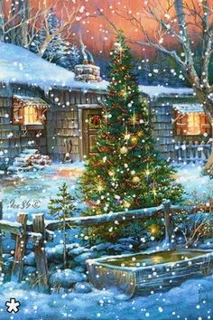 A beautiful Christmas tree~ Christmas Scenes, Christmas Past, Country Christmas, Christmas Greetings, Winter Christmas, Christmas Lights, Christmas Decorations, Christmas Glitter, Merry Christmas Gif