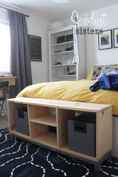 IKEA look like bench. Build for only $30! Tutorial at sawdustsisters.com