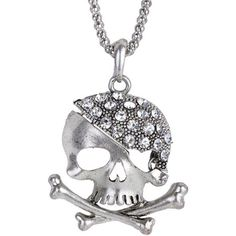 Rhinestone Sea Poacher Skull Necklace ($3.09) ❤ liked on Polyvore featuring men's fashion, men's jewelry, men's necklaces and mens skull necklace