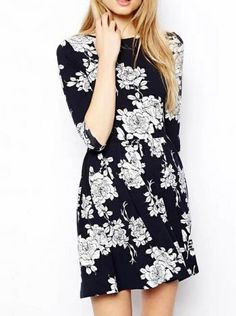 SUMMER NEW ARRIVAL FASHION LADIES' PRINTED TUNIC SLEEVE PLEATED DRESS ST1670