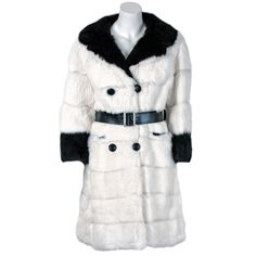 Beautiful Black and White Genuine Rabbit Fur Double-Breasted Mod Coat Brand New Day, Vintage Coat, Winter Coat, Double Breasted, Nice Dresses, 1960s, Doll Clothes, Fur Coat, Fashion Outfits