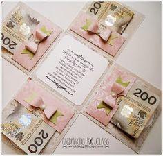 Oryginalne pudełko ślubne z życzeniami i kieszonkami na pieniążki.