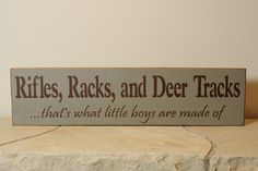 Rifles, Racks, And Deer Tracks hunting sign. $20.00, via Etsy. So cute for baby room!