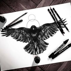 Raven crow tattoo