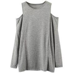 Light Gray Cold Shoulder Long Sleeve T-shirt