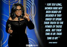 """Oprah Winfrey said """"a new day is on the horizon"""" as she collected an honorary award at the Golden Globes."""