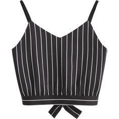 Bowknot Stripes Cut Out Cropped Tank Top (100 PLN) ❤ liked on Polyvore featuring tops, stripe crop top, cut-out shoulder tops, striped top, stripe top and cut out detail top