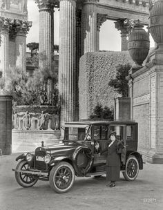"San Francisco, 1919. ""Hudson Biddle & Smart touring limousine at Palace of Fine Arts."""