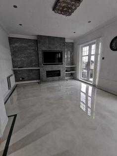 Luxury Flooring, Modern Flooring, Grey Flooring, Modern Home Interior Design, Home Room Design, House Design, Epoxy Floor Designs, Epoxy Resin Flooring, Metallic Epoxy Floor