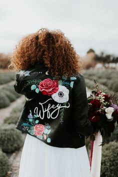 Add a little edge and customize your wedding day look with a hand lettered, leather (or faux leather) jacket! Rocker Wedding, Edgy Wedding, Wedding Bride, Dream Wedding, Elopement Wedding, Wedding Tips, Wedding Details, Wedding Dresses, Painted Leather Jacket