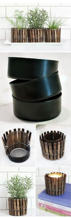 Pinzas de madera para decorar una planta o hacer un portavelas de manera sencilla