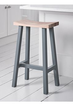 NEW Curved Top Oak Stool - Charcoal - Stools & Chairs - Kitchen