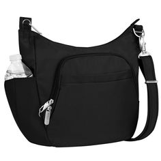 b1d7869b6ae2 Anti-Theft Black Poly Crossbody Tote Bag, Women's Travel Items, Crossbody  Bags For