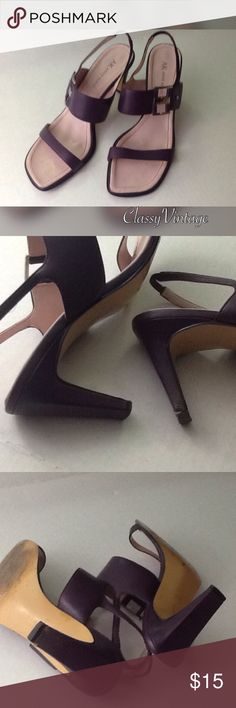 Plum Anne Klein heels Gently used Anne Klein heels. Elastic back strap. Metal logo detail on band across foot. There is a mark on heel - see pictures. Heel height is 3 inches Anne Klein Shoes Heels