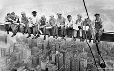 Charles C. Ebbets :: '  Lunch atop a Skyscraper' / Construction workers eat their lunches atop a steel beam 800 feet above ground, at the building site of the RCA Building in Rockefeller Center, NYC, 20 Sep 1932 more [+] by this photographer