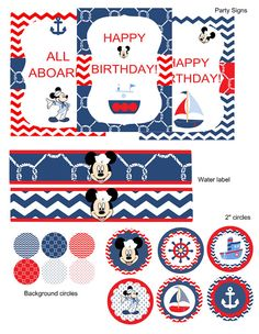 Mickey Mouse Birthday Party, your little sailor will love it !!!  Thank you for browsing my shop!  This listing is for a PRINTABLE digital file for printing at home or uploading to a professional printer - NO physical item will be shipped out. (All items will be sent on 8 1/2 x 11 files.)  A la carte items are available! Please ask me about it!  ------------------------------------------------------------------------------------------------------- PLEASE PROVIDE THE FOLLOWING UPON CHECKO...