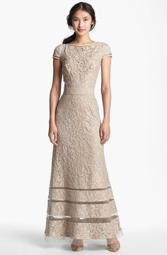 Tadashi Shoji Cap Sleeve Lace Gown | Nordstrom