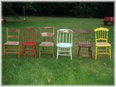 ANTIQUE DINING CHAIRS 6 chair grouping of adorable 1800s & 1900s chairs