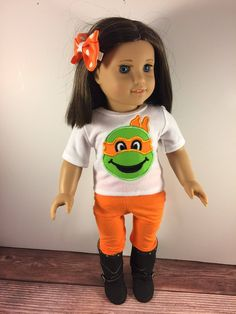 18 Inch Doll Clothes;Custom Doll Clothes;Turtle Doll Shirt;Baby Doll Clothes;Girls Gift;Doll Leggings;Doll Outfits;Orange Turtle;Doll Shirt by AllAboutThemDolls on Etsy