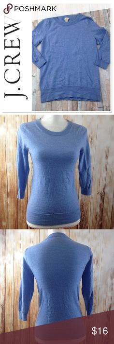 JCREW 100% WOOL Jcrew factory 100% merino wool sweater. Size small or extra small, I think it might have shrunken in the wash a little bit. Sky blue color, EXTREMELY soft and super cute with a necklace or scarf. All measurements above, can always provide more upon request. Have any questions? I bet I have answers so feel free to ask! Check out my closet for more J Crew and more smalls/xsmalls!!! J. Crew Sweaters Crew & Scoop Necks