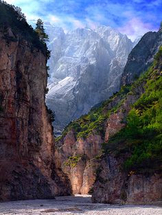 A narrow canyon amid the rocky Alps. Val di Fonda, Northern Italy by Harald Mieling, via Flickr