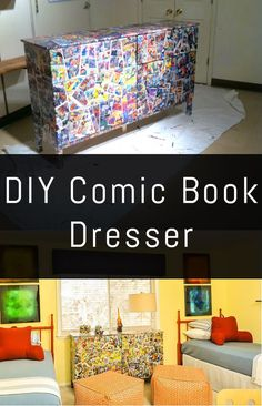 How cute would this be for a kid's room?! This DIY Comic Book Dresser is actually an easy project!