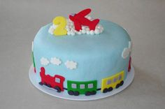 Transportation cake second 2nd birthday plane train car truck cake