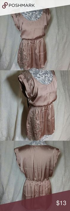Silky and Lace Flowing Blouse Large Purchased new. Rarely worn. In great condition. True to size. Elastic Cinched waist. 100% Polyester Tops Blouses